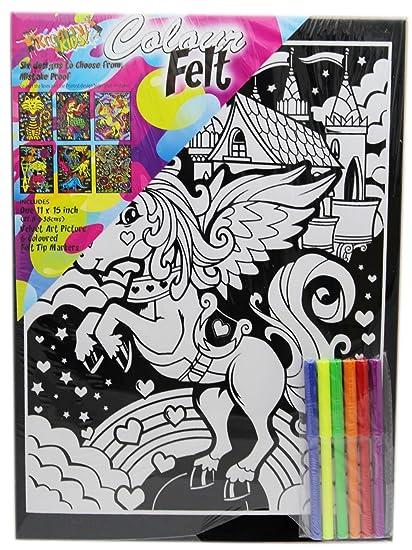 Kreative Kids Colourful Velvet Felt Art Picture Colouring Set For Children ~ Unicorn