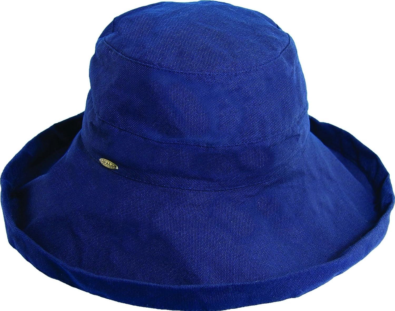 Navy Scala Women's Cotton Big Brim Hat
