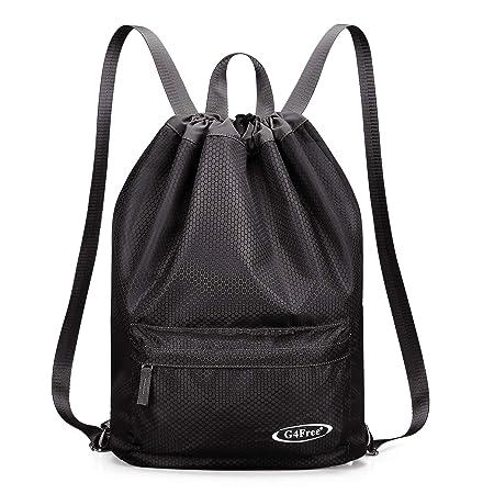 8ed8754b66d0 G4Free Water-resistant Drawstring Backpack PE Bag Unisex Sports Bag Gym Bag  Gymsack Kids School Rucksack Swimming Bag for Adults and Children  (Black-1)  ...