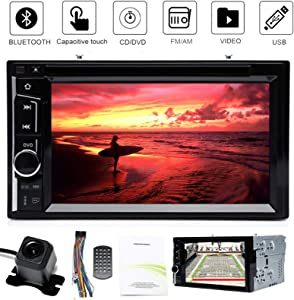 """Two Din Car Radio with Back Up Camera for Ford F250 F350 F450 F550 (2004-2016), Double Din Stereo with Mirror Link, Bluetooth, 6.2"""" Touchscreen, AUX, USB, CD/DVD Player, AM, FM, Subwoofer Control"""