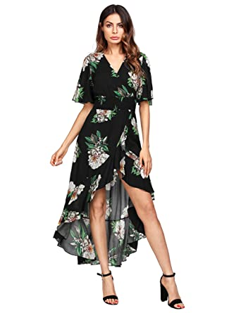 50865d451189 MAKEMECHIC Women s Short Sleeve Floral High Low V-Neck Long Maxi Dress  1Black S