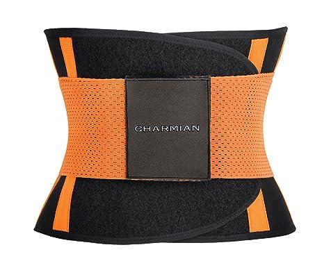 a0c9c1aba78 Charmian Women s Adjustable Waist Trainer Belt - Workout Enhancer Stomach Body  Shaper for Hourglass Shape Orange