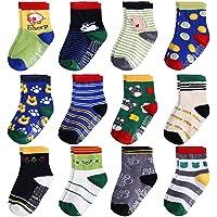 Baby Socks Non Slip Skid Socks For Toddler Kids Baby Girls Boys Cotton Socks with Grip 12 Pairs