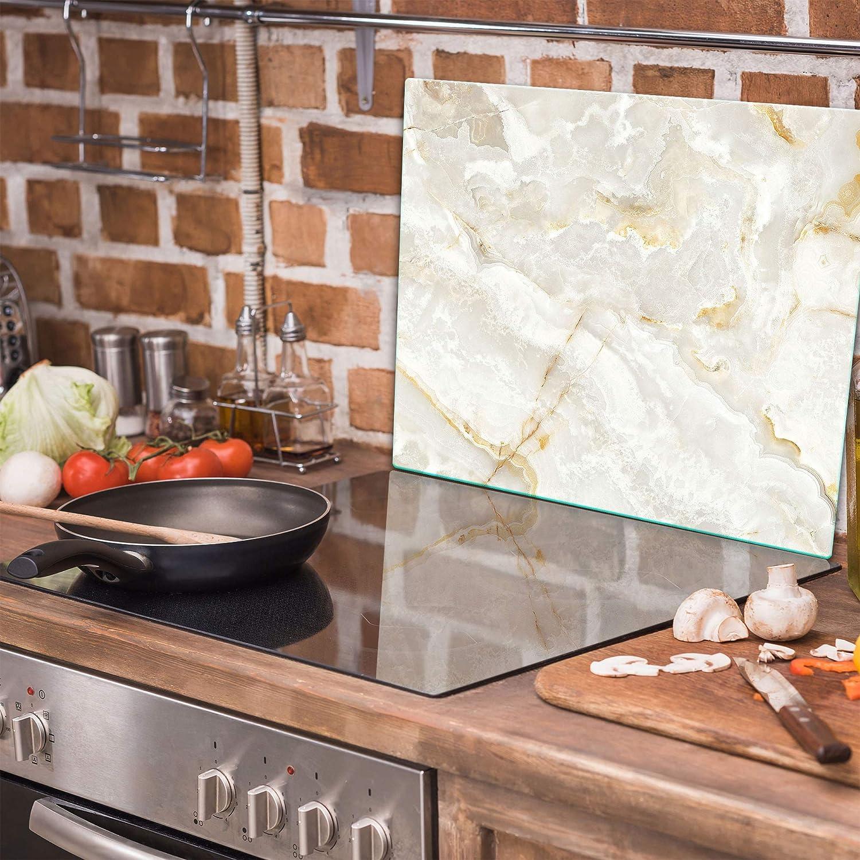 Tulup Tabla De Cortar Cocina 60x52cm Vidrio Protector De Placa De Induccion Aullido De Lobo A La Luna Llena
