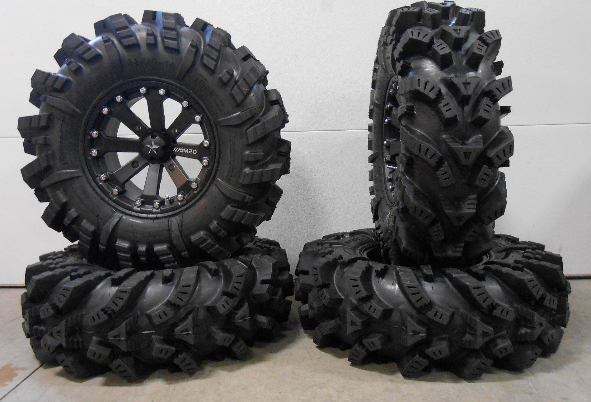 Bundle - 9 Items: MSA Black Kore 14'' ATV Wheels 32'' Intimidator Tires [4x156 Bolt Pattern 12mmx1.5 Lug Kit]
