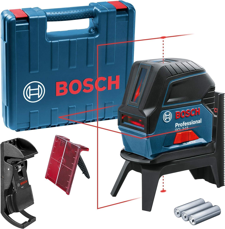 Bosch Professional Kreuzlinienlaser Gcl 2 15 Roter Laser Innenbereich Mit Lotpunkten Arbeitsbereich 15 M 3x Aa Batterien Drehhalterung Rm 1 Laserzieltafel Schutztasche Handwerkerkoffer Baumarkt