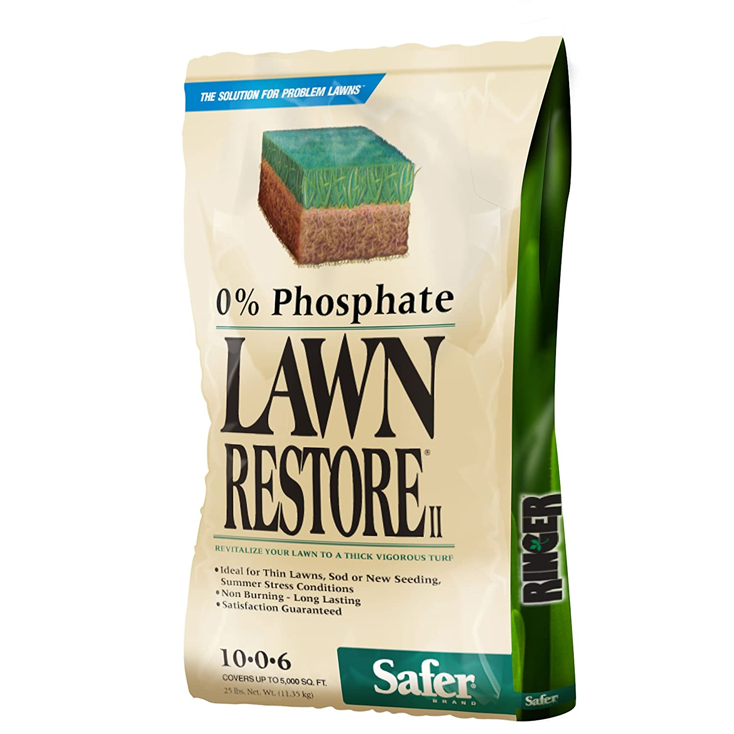 Ringer Lawn Fertilizer has 0% phosphate great for spring lawns