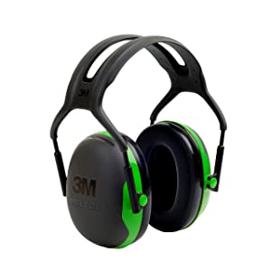 6. 3M Peltor X-Series Over-the-Head Earmuffs, NRR 22 dB, One Size Fits Most, Black/Green X1A (Pack of 1)