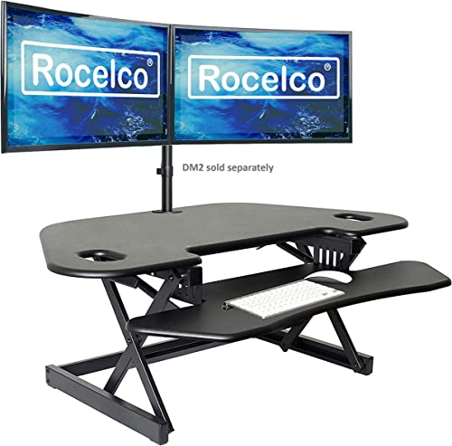Rocelco 46″ Height Adjustable Corner Standing Desk Converter