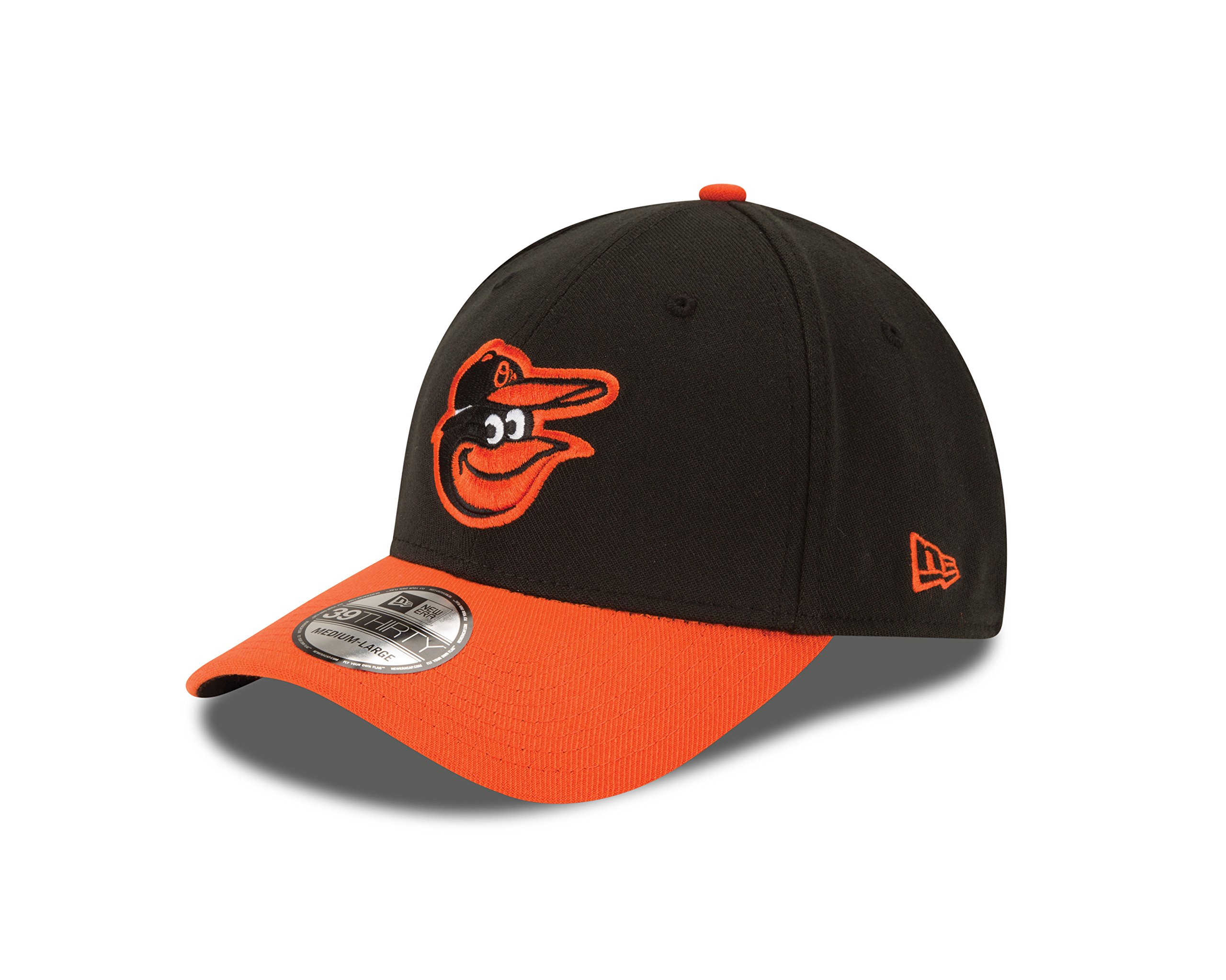 New Era MLB Baltimore Orioles Team Classic Road 39Thirty Stretch Fit Cap, Black, Small/Medium