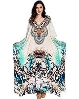 Kivaana Women's Kaftan, Caftan, Kaftan Caftan Dress Beach Kaftan Dress Digital Print Free Size Dress In Blue Sheer
