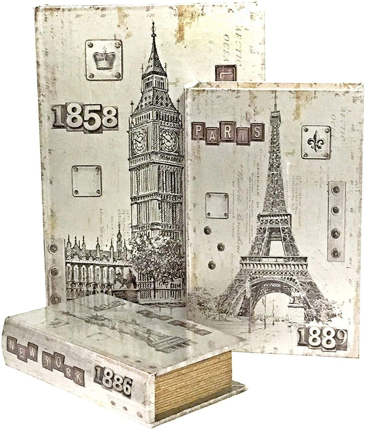 Bellaa 28083 London Paris New York Decorative Book Boxes Antique Invisible Magnetic Cover Set of 3 Architecture