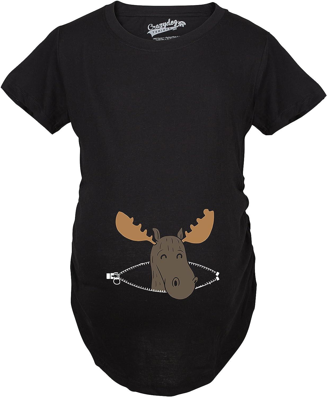 Maternity Peeking Moose Announcement Funny Pregnancy Gift T shirt Crazy Dog Tshirts