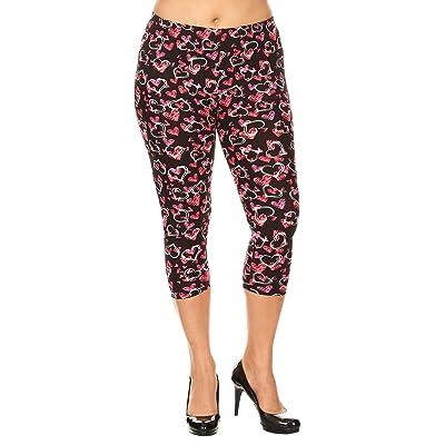 Leggings Mania Women's Plus Size Hearts Printed Capri Leggings Pink at Women's Clothing store