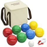 GoSports 90mm Backyard Bocce Set with 8 Balls, Pallino, Case and Measuring Rope - Made from Premium Resin