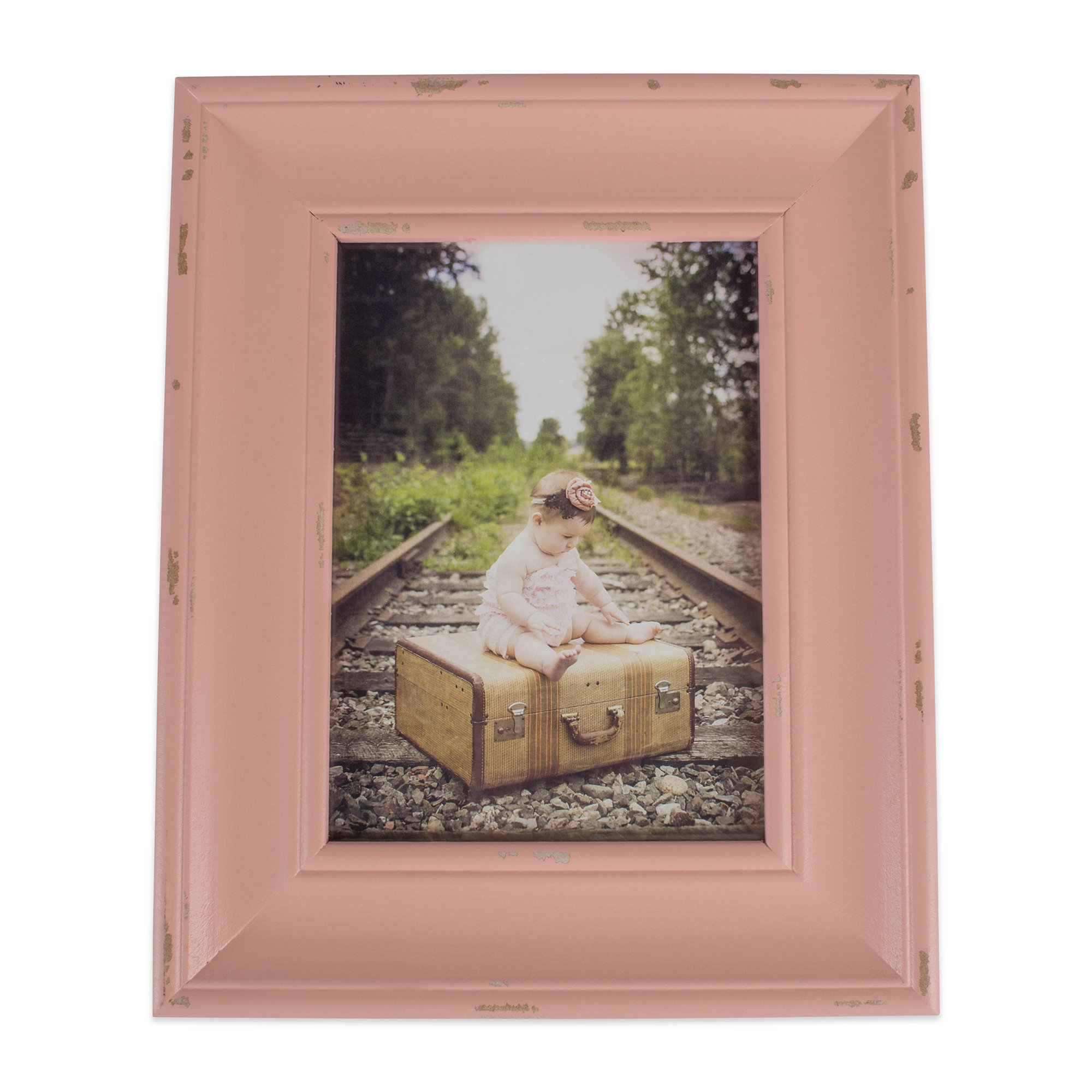 Home Traditions Z02253 Rustic Farmhouse Distressed Wooden Picture Frame for Wall Hanging or Desk Use, 8x10 Inch, Blush