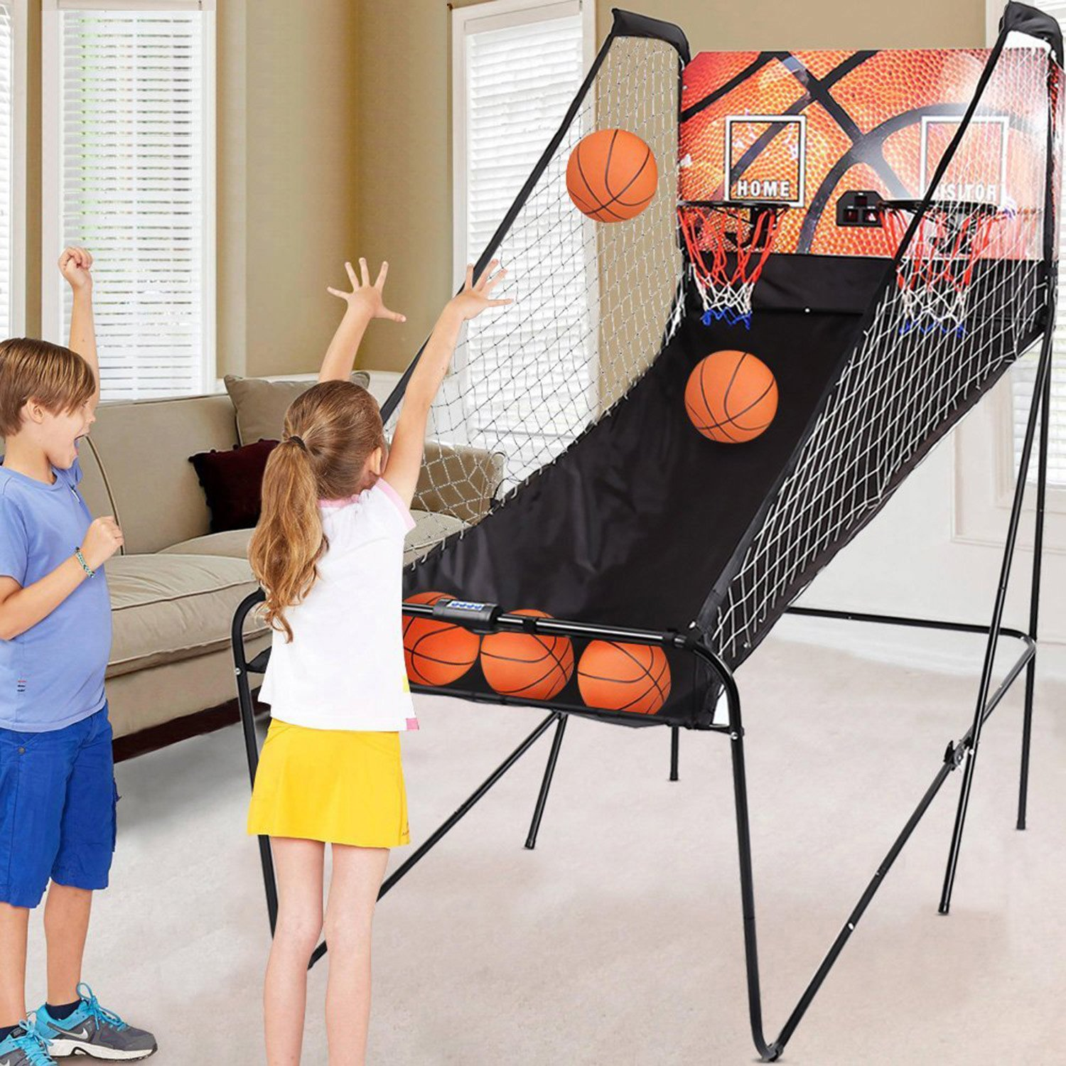 Oanon Folding Indoor Electronic Basketball Arcade Game 2 Player Double Shot 8-in-1 Electronic Scoring with 5 Balls