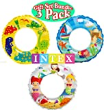 "Intex Ocean Reef Transparent Swim Rings ""Dinosaurs"", ""Mermaid"" & ""Beach"" Gift Set Bundle - 3 Pack"