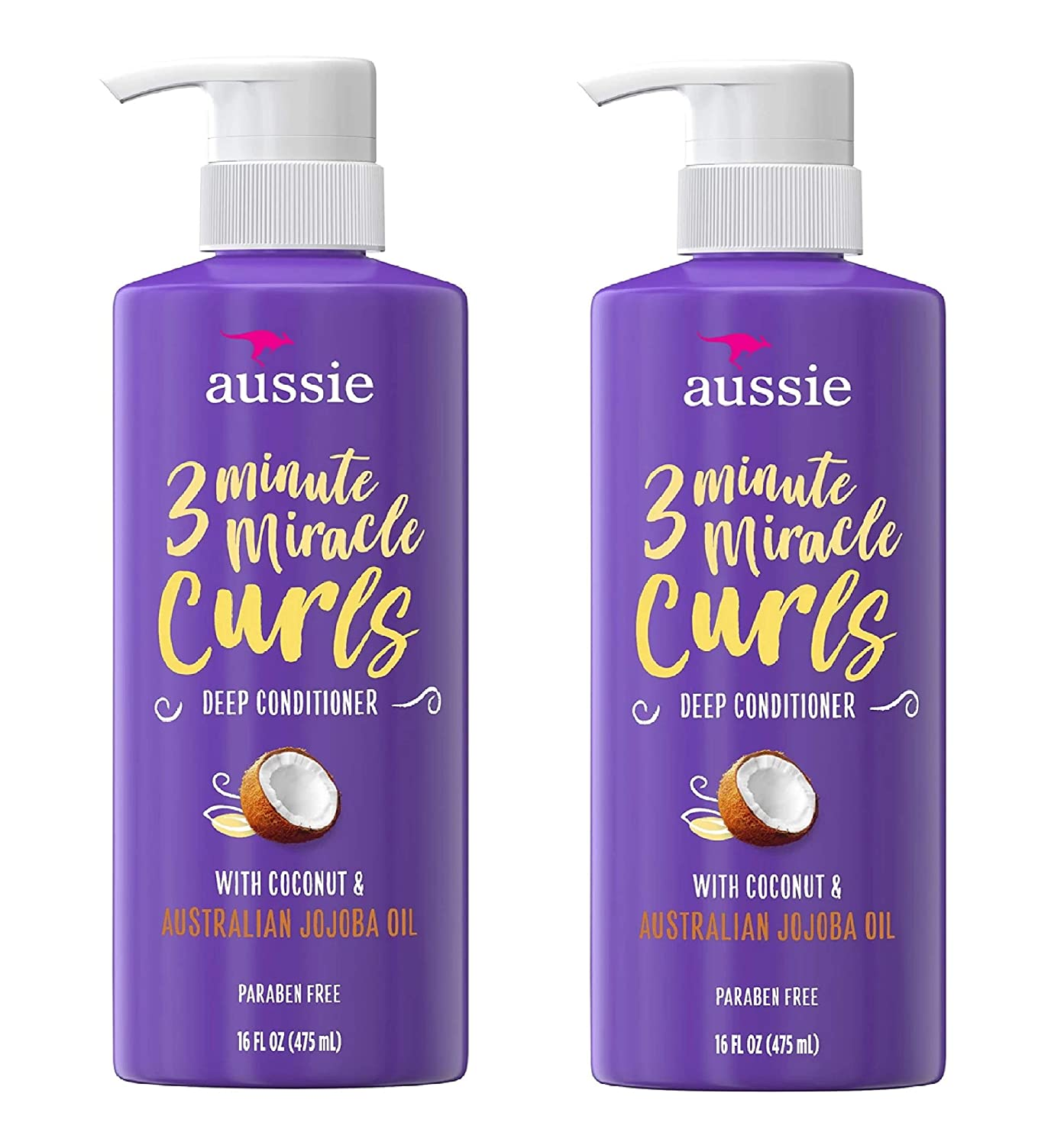 Paraben-Free Miracle Curls 3 Minute Miracle Conditioner with Coconut and Australian Jojoba Oil 16 fl oz - 2-PACK