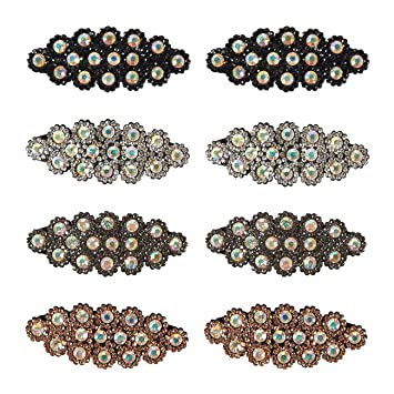 0d1013597ec01 Rhinestone Hair Clips - 8-Pack Snap Hair Clips Hair Barrettes with Crystal  for Women