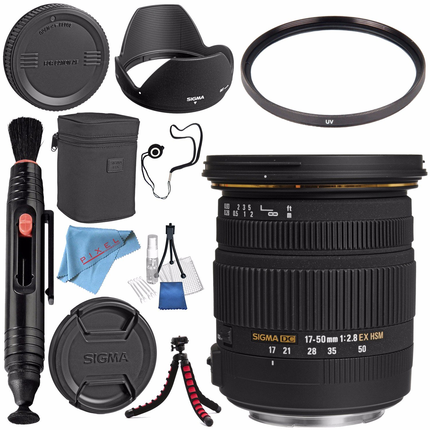Sigma 17-50mm f/2.8 EX DC OS HSM Zoom Lens For Canon w/ A{S-C Sensor #583101 + 77mm UV Filter + Lens Pen Cleaner + Fibercloth + Lens Capkeeper + Deluxe Cleaning Kit + Flexible Tripod Bundle