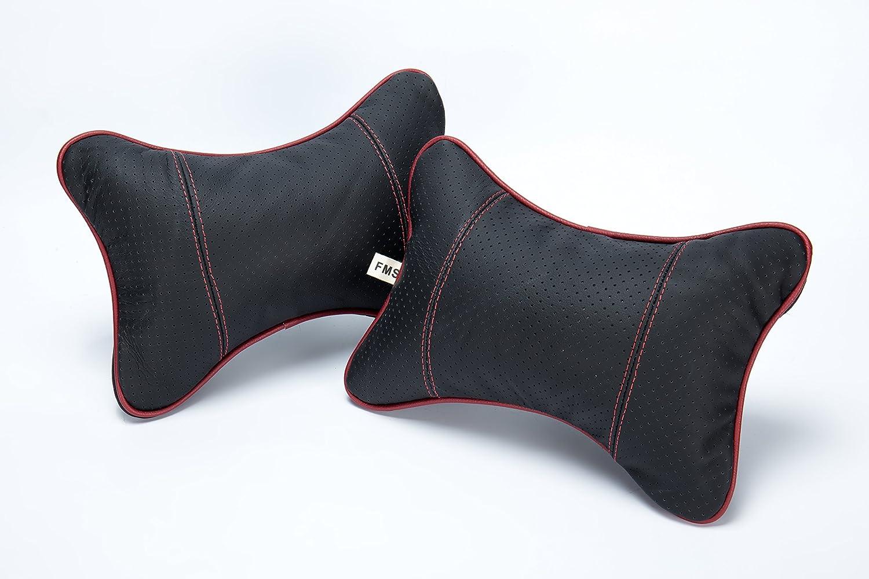 FMS 2 Piezas Piel de Coche cuellos Coche Cojínes Almohada Cervical con cubierta desmontable (Negro)