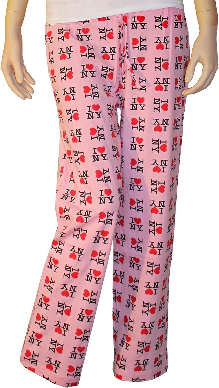 I Love NY New York Lounge Pants Heart Pajama Bottoms Gray Medium
