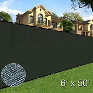 Sunnyglade 6' x 50' Privacy Screen Fence Heavy Duty Fencing Mesh Shade Net Cover for Wall Garden Yard Backyard (Green)