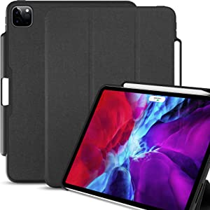 KHOMO iPad Case Pro 11 Case 2nd Generation 2020 with Pencil Holder - Dual Series - Supports Apple Pen Charging - Charcoal Black