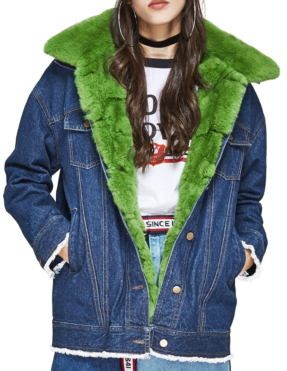 S.ROMZA Women Street Style Jean Jacket Real Rabbit Fur Lining and Fur Collar Outwear Parka (Dark Jean & Green Fur, Large)