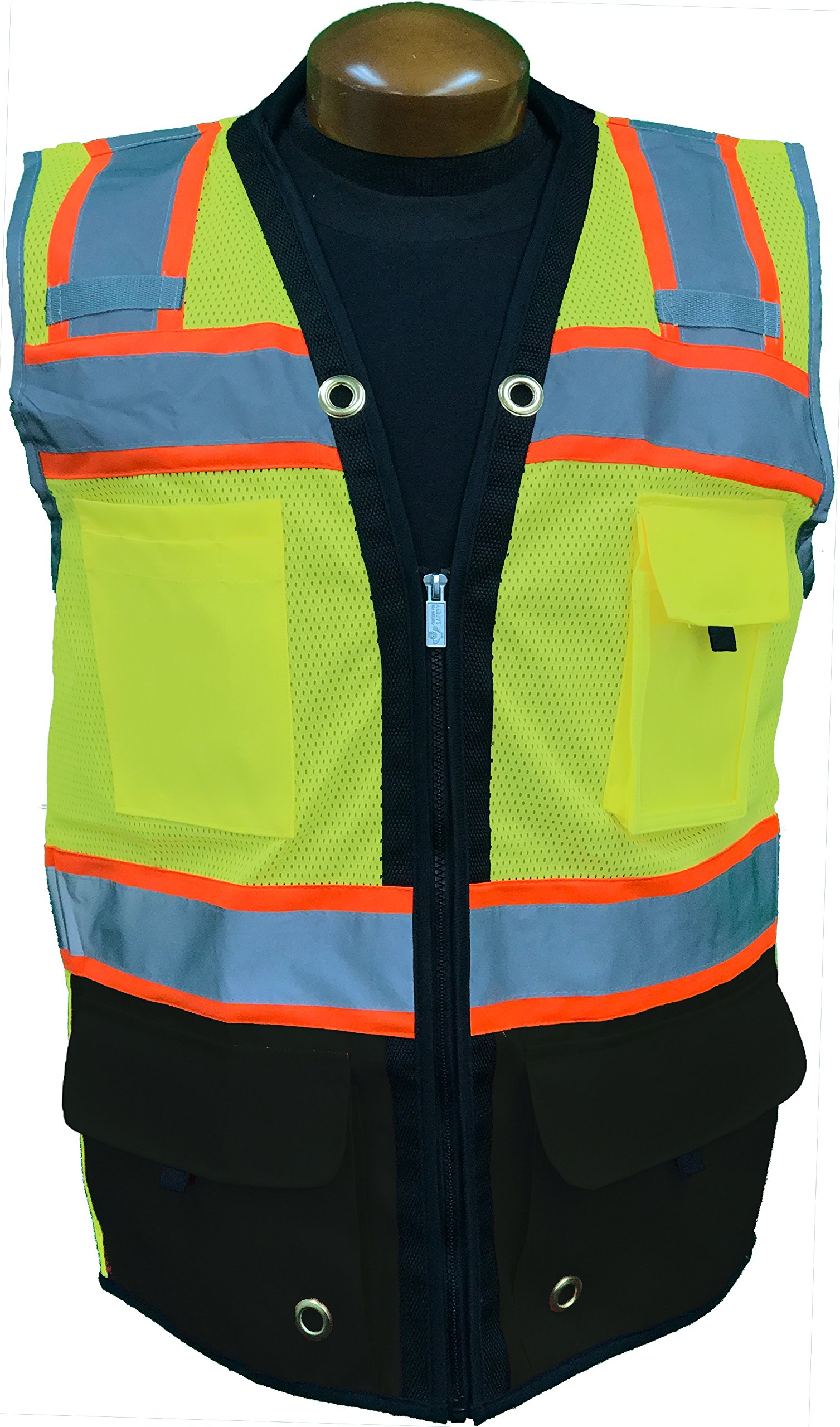 SHINE BRIGHT SV544BK | Premium Surveyor's High Visibility Safety Vest | 2 Tone Lime Black with Reflective Strips | ANSI CLASS 2 | Soft and Breathable |Heavy Duty Zipper Front | Size Large