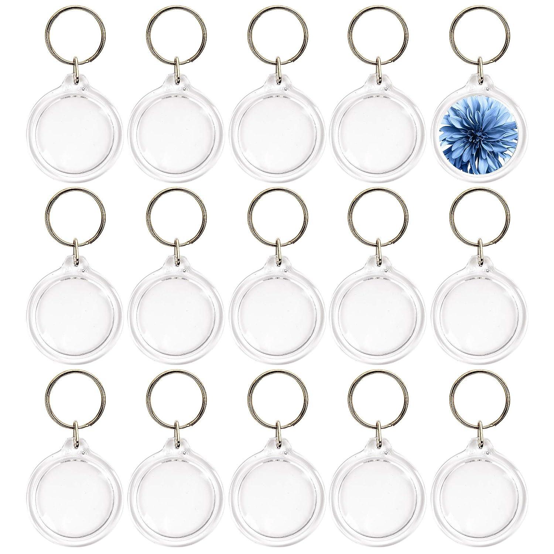 50 piezas Llaveros con marco Acrílico Transparente Cuadros redondos 4.5cm-Llavero en blanco para insertar fotos personalizadas Logotipos-Regalos de ...
