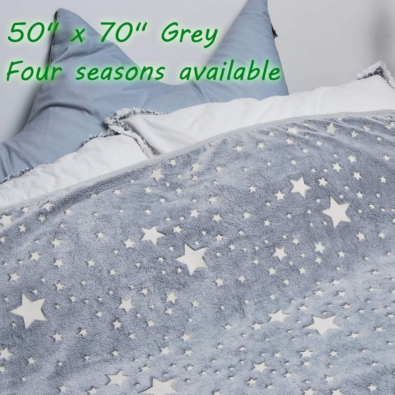Forestar Glow in The Dark Throw Blanket, Birthday Gift for Kids Boys Girls Toddlers, Premium Super Soft Fuzzy Fluffy Plush Furry Throw Blanket (50'' x 70'' Gray) by Forestar (Image #4)