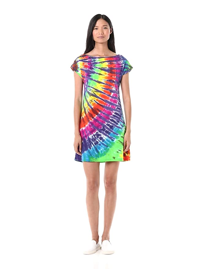 500 Vintage Style Dresses for Sale | Vintage Inspired Dresses Liquid Blue Womens Rainbow Purple Streak Tie Dye Boat Neck Sundress $26.49 AT vintagedancer.com
