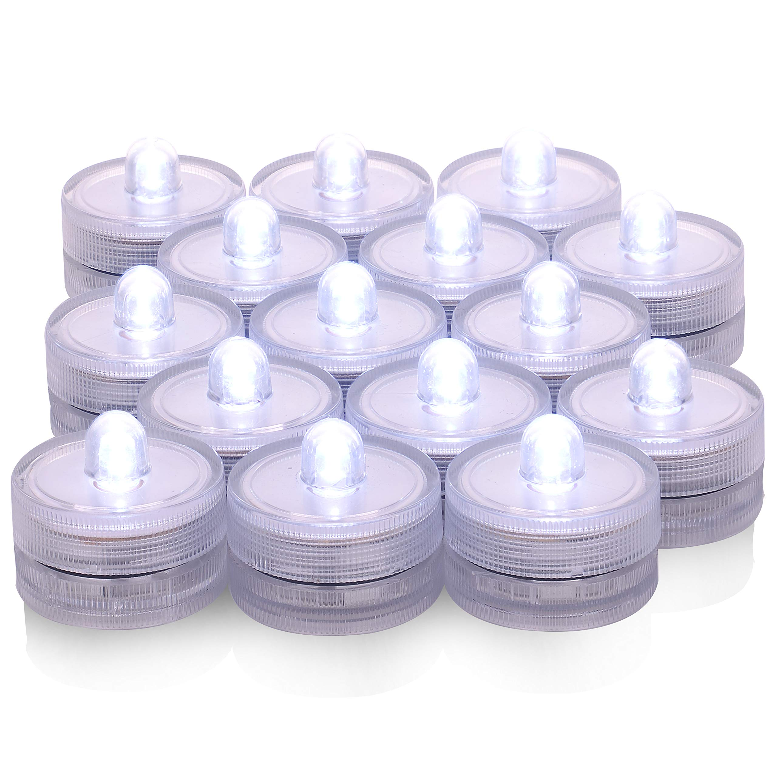 36 Pack Waterproof Wedding Underwater Battery Sub LED Lights Seasonal & Festival Celebration Flameless LED Tea Light White,in SPA, Bathroom, Restaurants, Wedding, Party, and Festival Decorations.