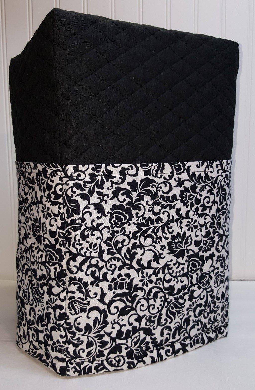 Black & White Floral Damask Bread Machine Cover (Black)
