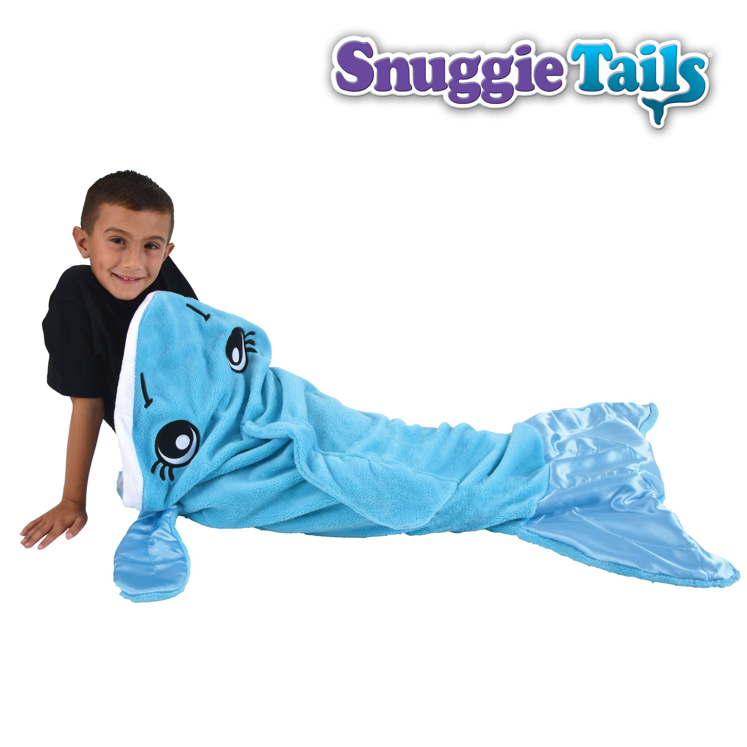 Snuggie Tails Dolphin- Tails Comfy Cozy Super Soft Blanket for Kids, As Seen on TV