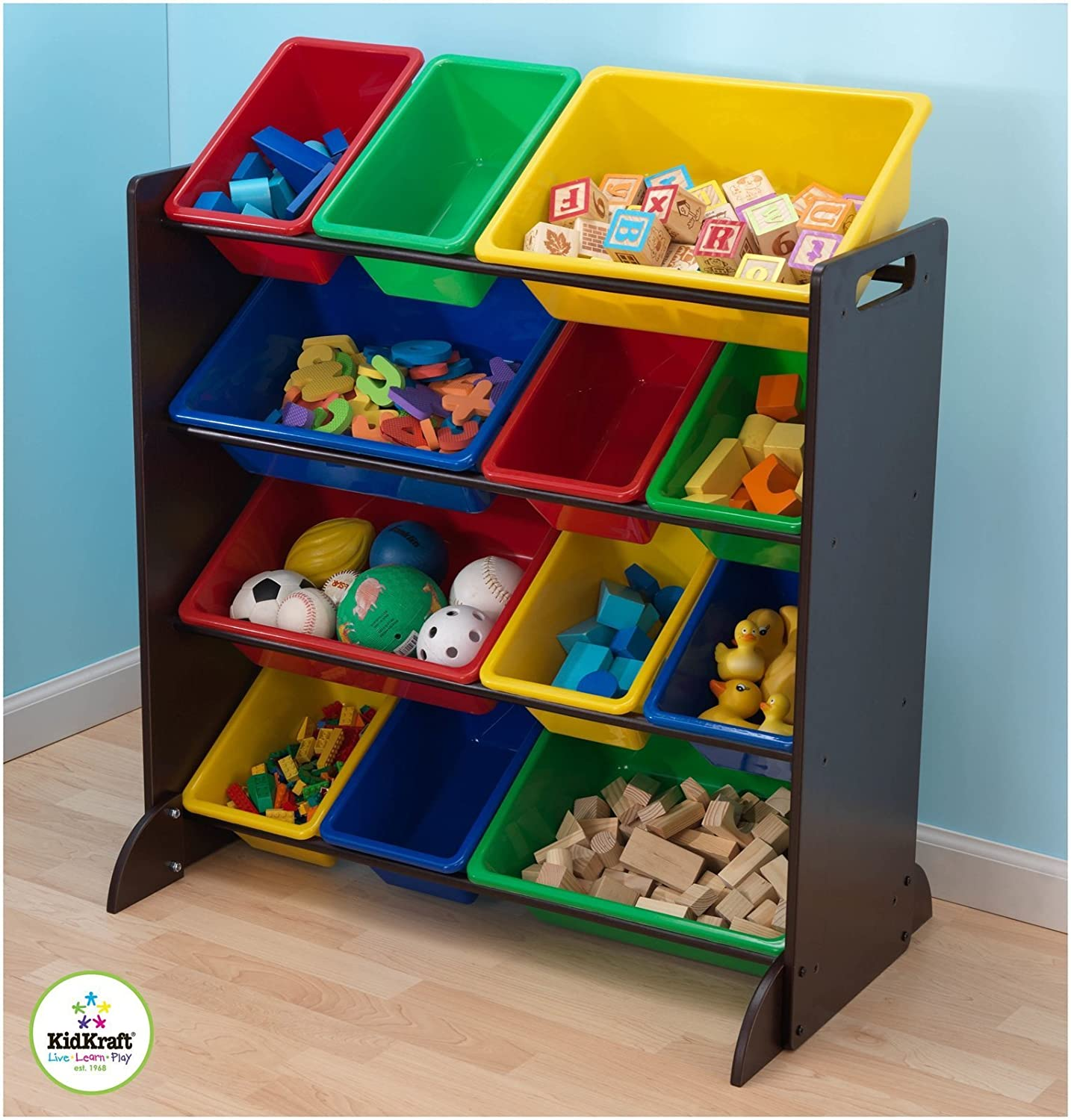 KidKraft Sort It and Store It Bin Unit-Espresso 15451