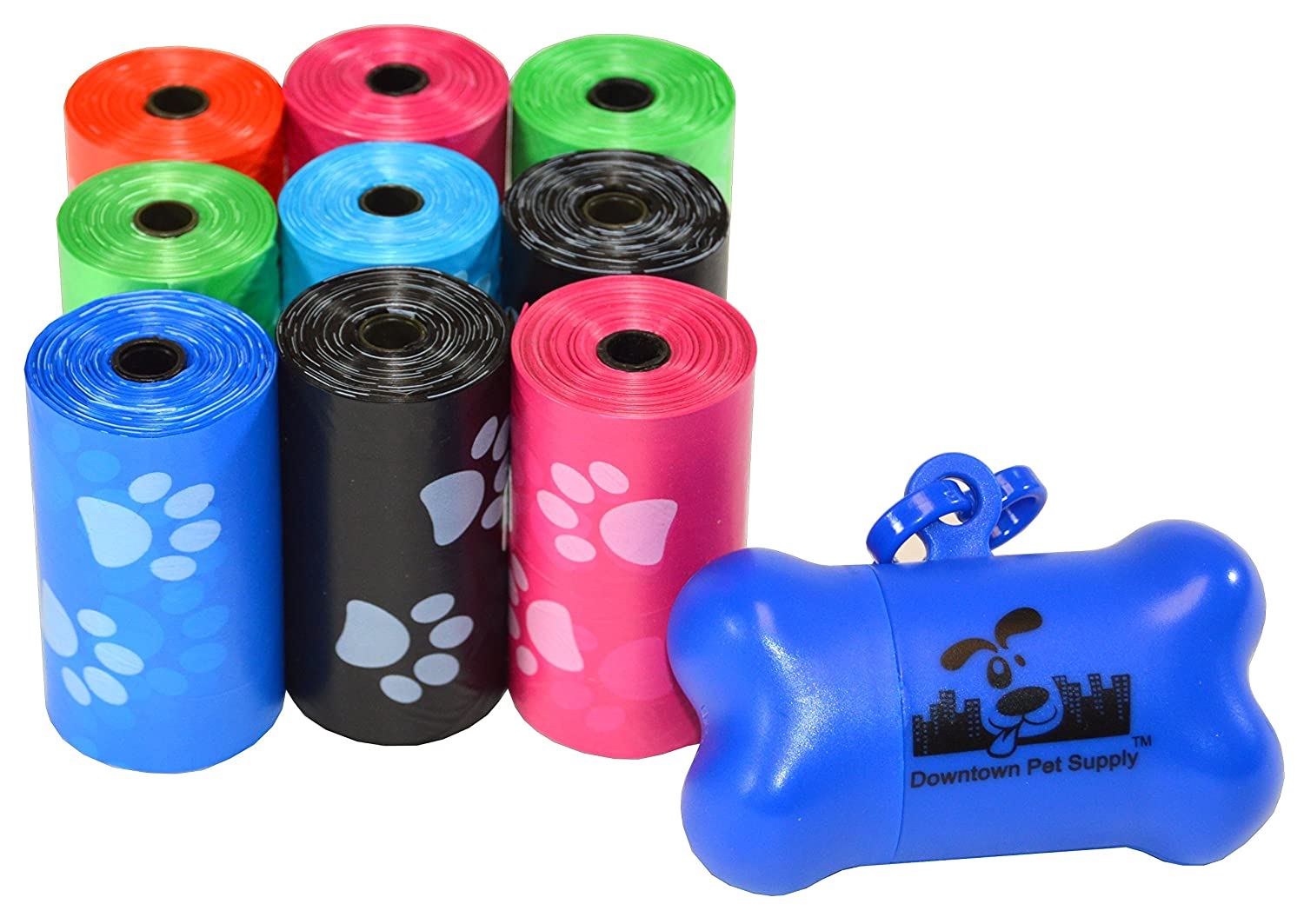Downtown Pet Supply 180, 220, 500, 700, 880, 960, 2200 Dog Pet Waste Poop Bags, Bulk roll,Clean up Refills-(Green, Blue, Purple, Red, Black, Pink,Rainbow of Colors or Paw Print)+Free Bone Dispenser