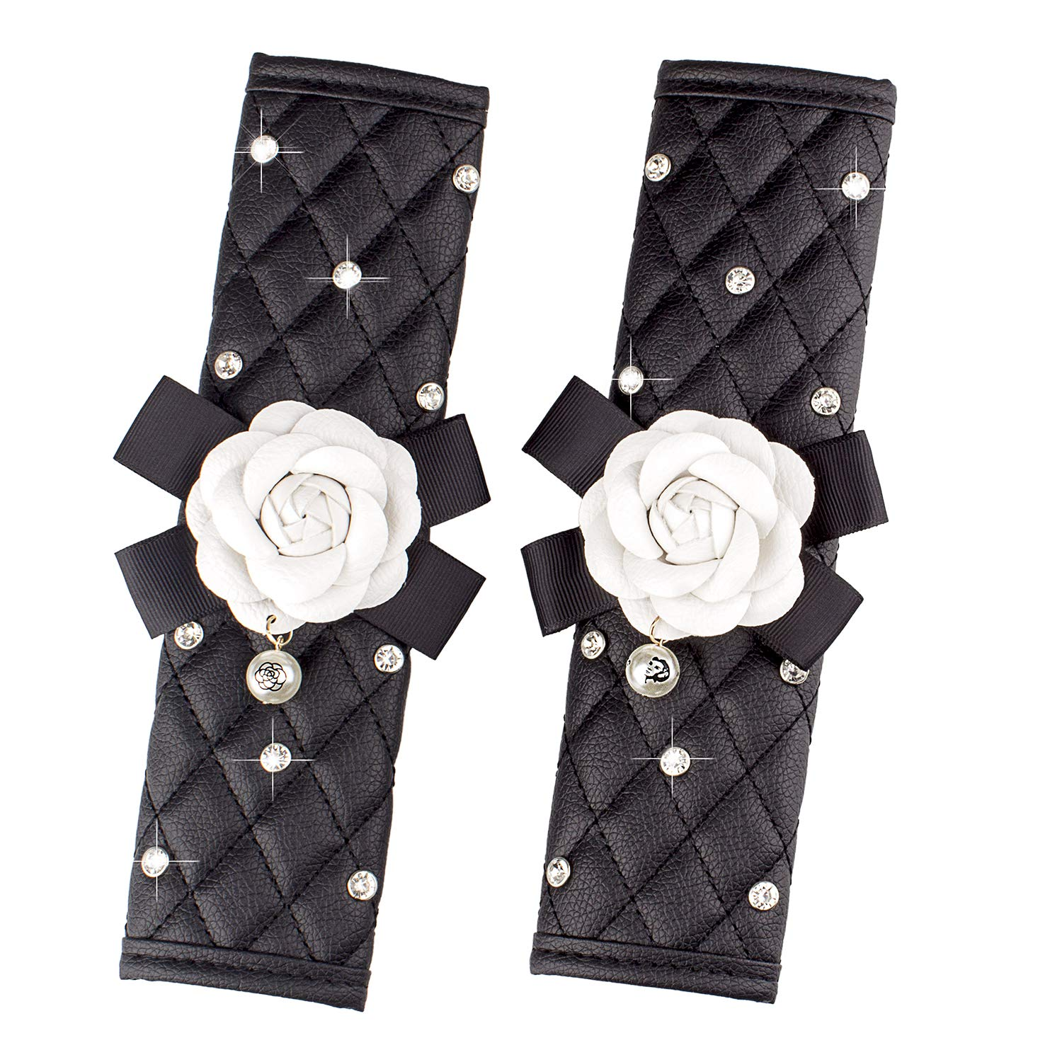 Elegant Car Series Universal For Girls Women Ladies Queen-Rose Red Flower Auto Car Seat Belt Pads Cover with Fashion Cute Flower Diamond Pearl,Exquisite Lattice Design,Soft Leather Stylish