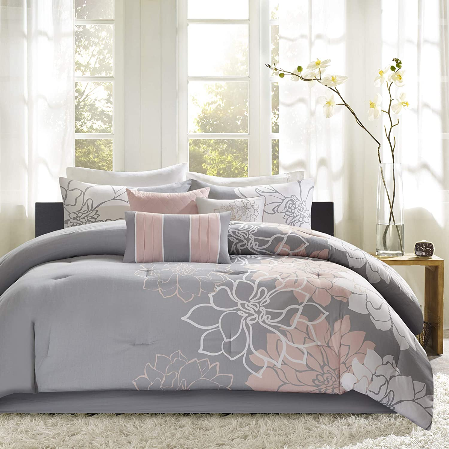 Madison Park Lola, Floral, Flowers – 10 Pieces Bedding Sets Sateen, Cotton  Poly Crossweave Bedroom Comforters, King, Grey/Blush