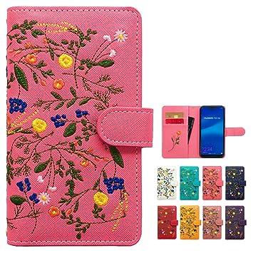 531070509b F-01L らくらくスマートフォン me ケース カバー ボタニカル 花 刺繍 手帳 手帳型 F-