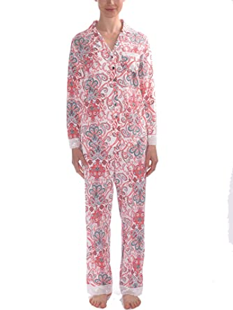 Comfortably You Women s Top and Bottom Pajamas with Lace Trim PJ Set in  Regular and Plus 11af1dc0d