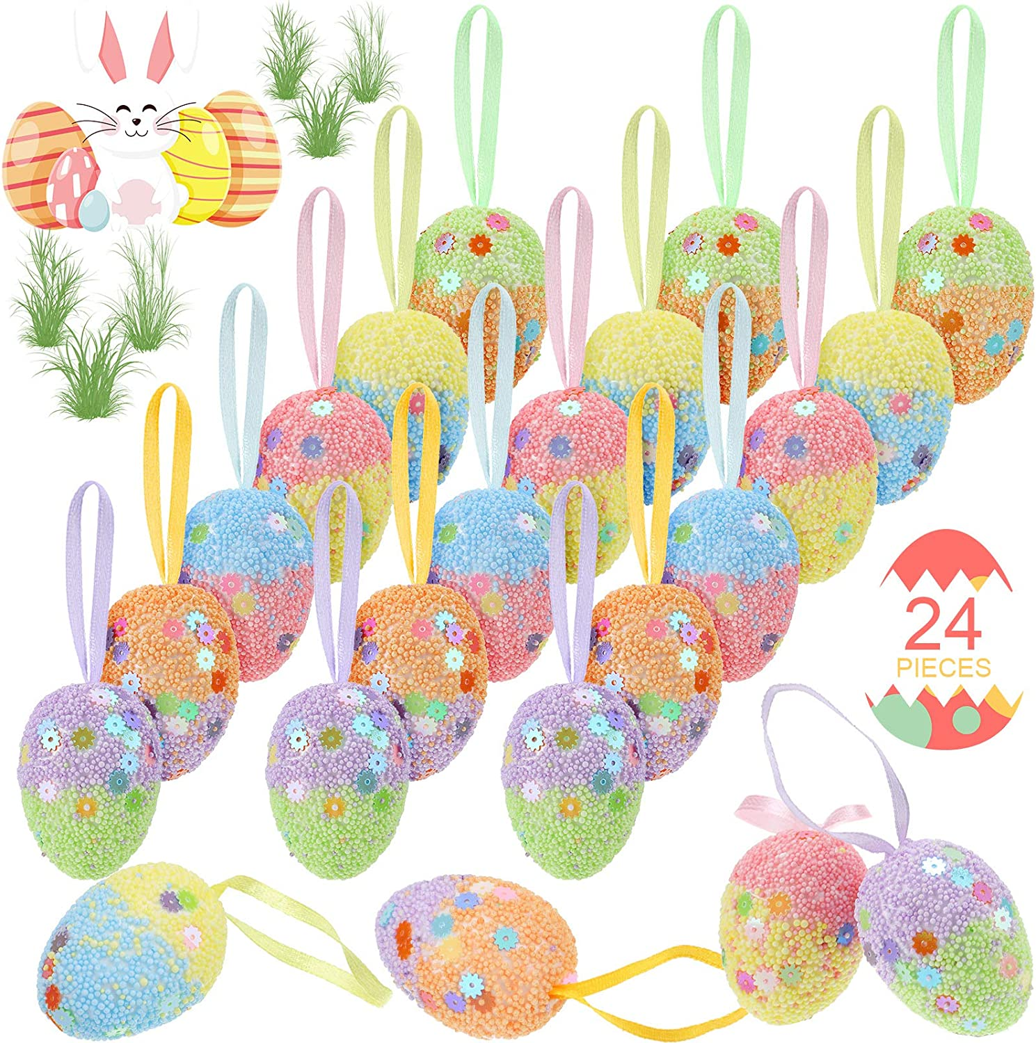 Skylety 24 Pieces Colorful Foam Easter Hanging Egg Ornaments Painted Hanging Easter Decorations