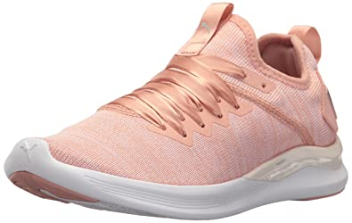 PUMA Women's Ignite Flash Evoknit Satin En Pointe Wn Sneaker, Peach Beige-Pearl  White
