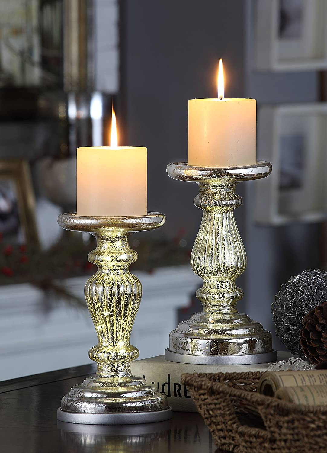 Silver Mercury Glass Lit Pillar Candle Holders Set of 2