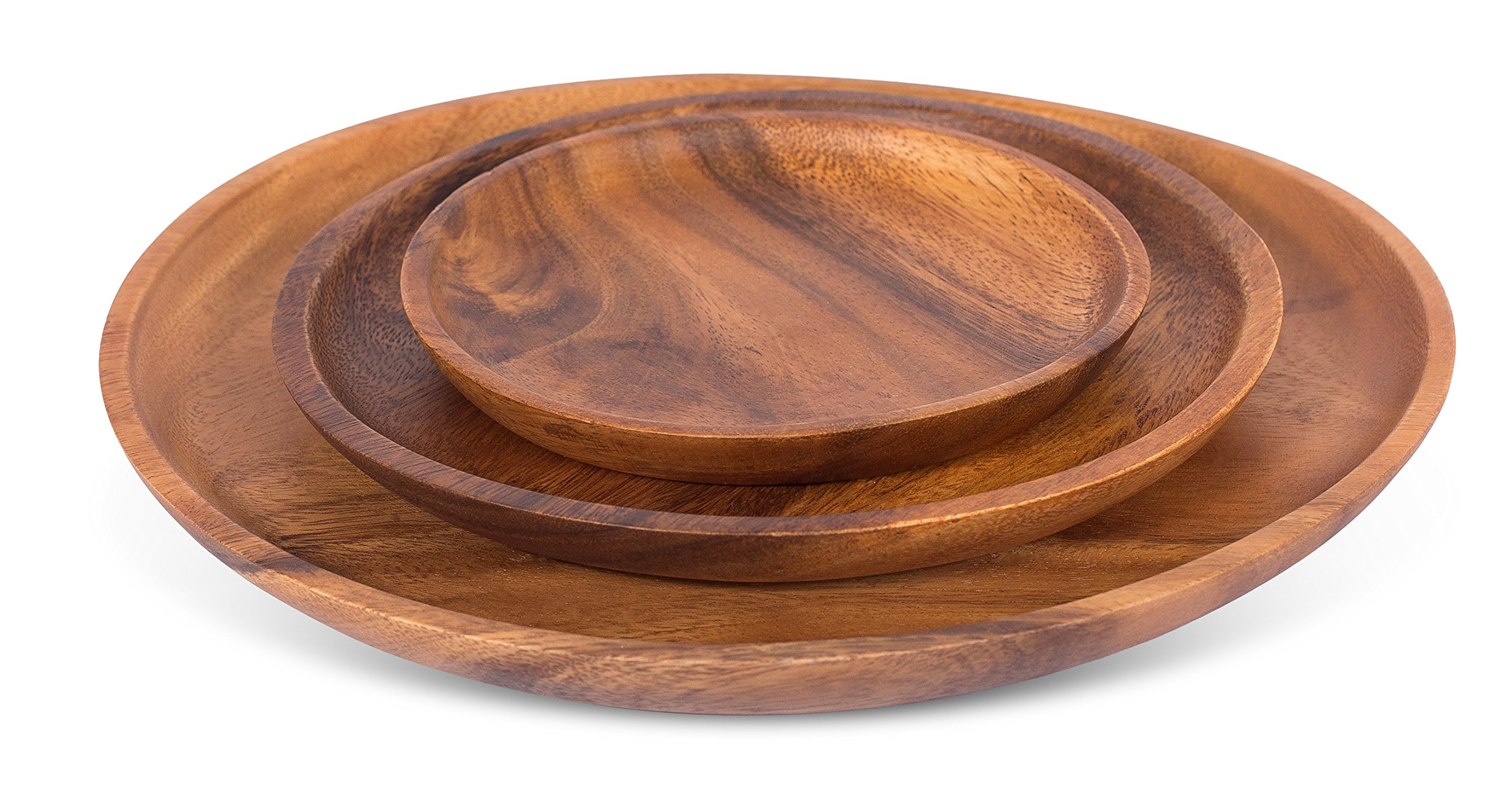 BirdRock Home Acacia Round Platters | Set of 3 | Acacia Wood Plates