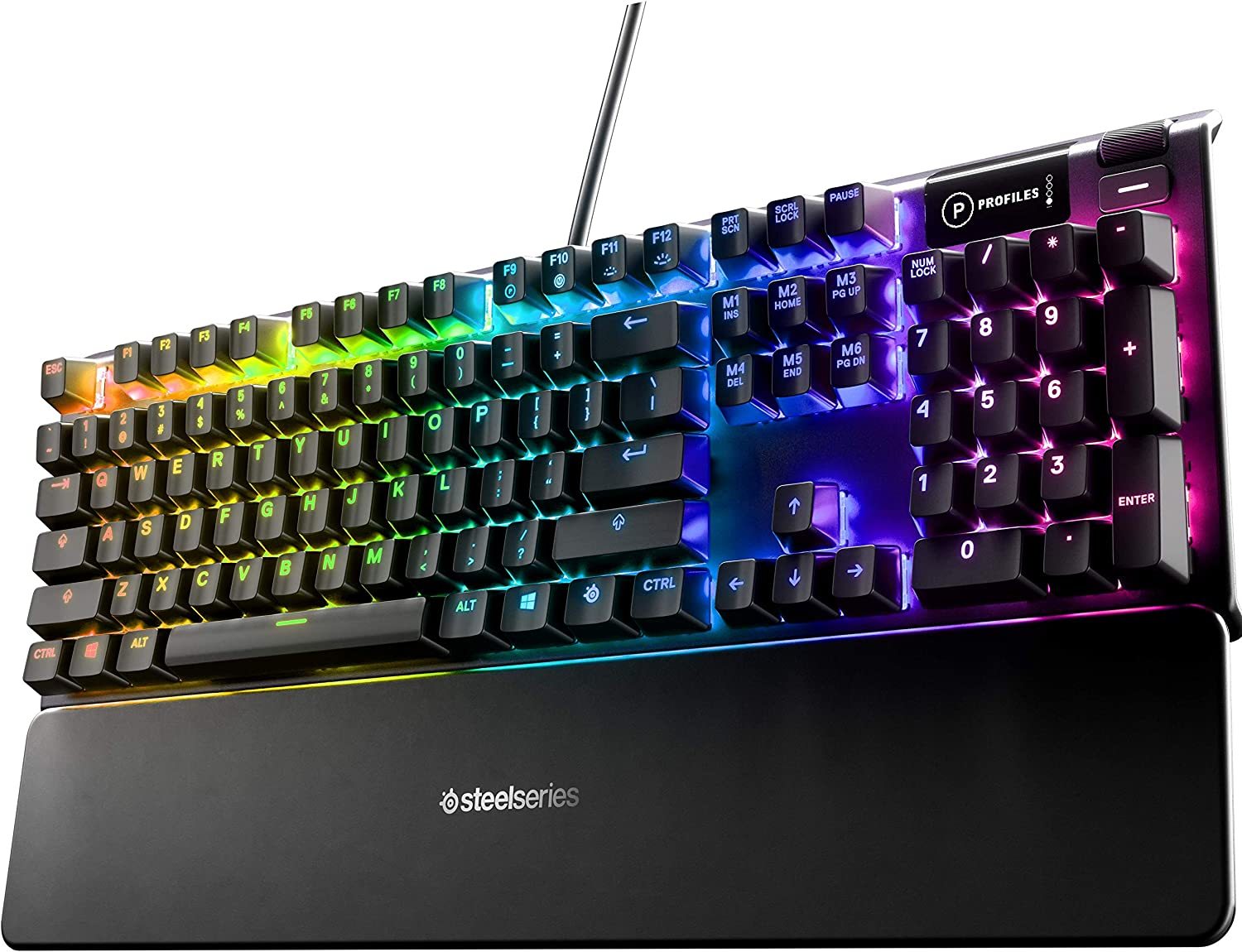 SteelSeries Apex 5 Hybrid Mechanical Gaming Keyboard – Per-Key RGB Illumination – Aircraft Grade Aluminum Alloy Frame – OLED Smart Display (Hybrid Blue Switch)
