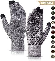 TRENDOUX 男女冬季手套 - 升級型觸摸屏防滑硅膠凝膠 - 彈性袖口 - 保暖軟羊毛襯里 - 針織彈性材料