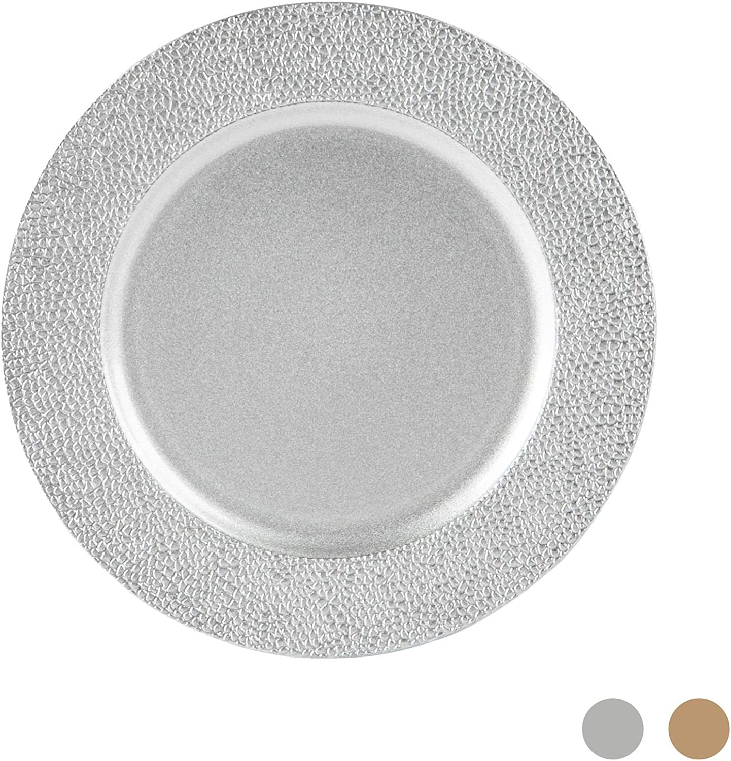Decorative Under-plate Silver Argon Tableware Single Charger Plate 33cm Hammered Edge